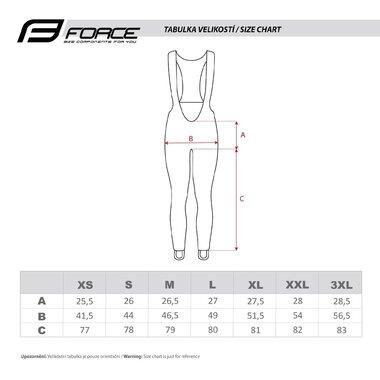 Kelnės su petnešom FORCE Bright su paminkštinimu (juoda) XL