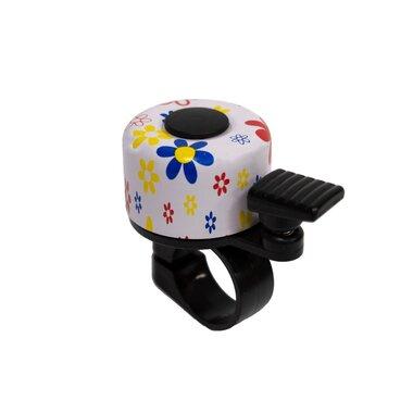 Dviračio skambutis BONIN 35mm (baltas su gėlėmis)