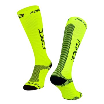 Kojinės FORCE Athletic Pro kompresinės (fluorescencinė/juoda) dydis 36-41 (S-M)