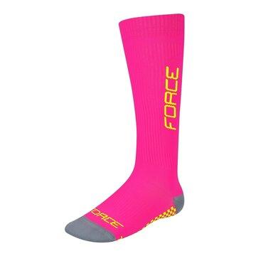 Kojinės FORCE Tessera Wide kompresinės (rožinė/fluorescentinė) dydis 36-41 (S-M)