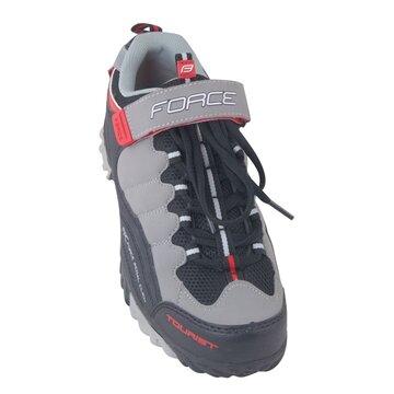 Dviratininko batai FORCE Tourist (juoda/pilka/raudona) dydis 45