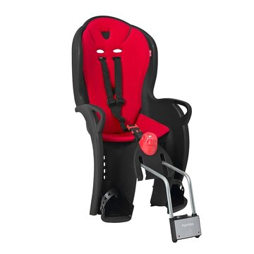 Dviračio vaikiška kėdutė Hamax Sleepy, ant bagažinės, reguliuojama, max 22kg (juoda/raudona)