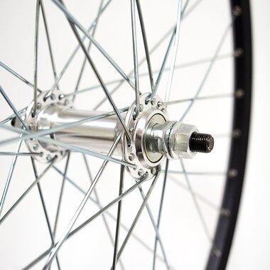 """Priekinis ratas 26"""" STARSCircle J19SZ ratl. aliuminė stebulė, 36H su veržlėmis, v-tipo (juoda/sidabrinė)"""
