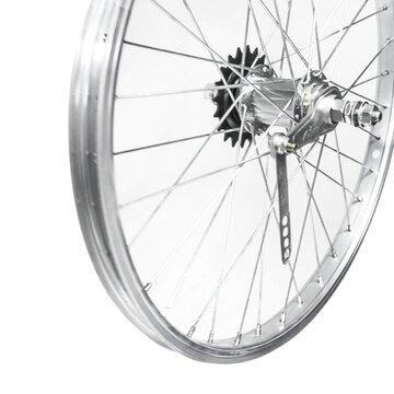 """Galinis ratas 20"""" sidabrinis viengubas ratlankis, sidabrinė stebulė 1 pav 36H, V-brake+kojiniai"""