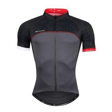 Marškinėliai FORCE Finisher (juoda/raudona) XL