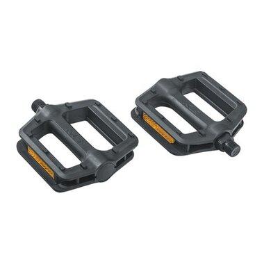 Pedalai KLS Flat 10 (plastikiniai, juodi)