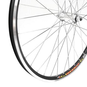 """Priekinis ratas 26"""" 36H sidabrinė stebulė, dvigubas Stars Circle ratlankis su kniedėmis, V-brake"""
