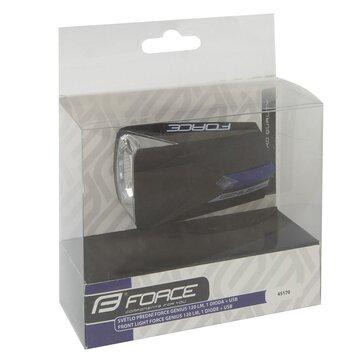 Priekinis žibintas FORCE Genius USB 1LED (juodas)