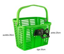 передняя корзина с системой Klick Fix  25,4-31,8mm (пластик, зеленый)