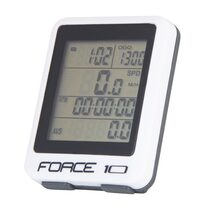 Bike computer FORCE 10 functions, wired (white)