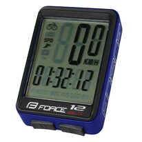 Bike computer FORCE WLS 12 functions, wireless (black/blue)