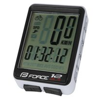 Bike computer FORCE WLS 12 functions, wireless (black/white)