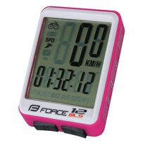 Bike computer FORCE WLS 12 functions, wireless (white/pink)