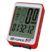 Bike computer FORCE WLS 12 functions, wireless (white/red)