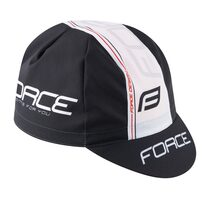 Dviratininko kepurėlė FORCE su snapeliu (juoda/balta) M