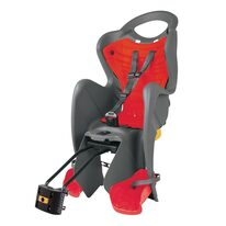 Dviračio kėdutė BELLELLI Mr. Fox Standard B-FIX gale ant dviračio rėmo, max 22kg (pilka/raudona)