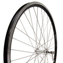 """Priekinis ratas 28"""" 36H aliuminė sidabrinė stebulė, juodas dvigubas Euroline ratlankis, V-brake, greitveržlė"""