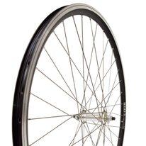 """Priekinis ratas 28"""" 36H aliuminė sidabrinė stebulė, juodas dvigubas Euroline ratlankis, V-brake, su varžtais"""