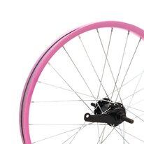 """Galinis ratas 20"""" rožinis viengubas ratlankis, juoda stebulė, 36H V-brake + kojinis"""