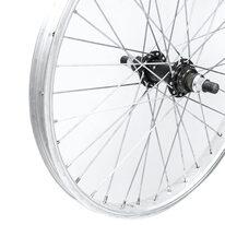 """Galinis ratas 20"""" viengubas sidabrinis ratlankis, juoda stebulė užsukamam žv. blokui, V-brake 36H, ašis 14mm"""