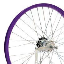 """Galinis ratas 20"""" violetinis viengubas ratlankis, sidabrinė stebulė, 36H V-brake + kojinis"""