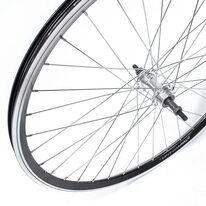 """Galinis ratas 26"""" 36H sidabrinė stebulė, užsukamam žv. blokui, V-brake stabdžiams, Dynamic dvigubas ratlankis"""