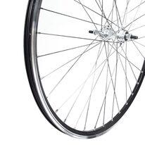 """Galinis ratas 28"""" juodas Exal ratl., sidabrinė Guli stebulė su pram. guoliais 36H, V-brake+disc, užsukamas žv. blokas"""