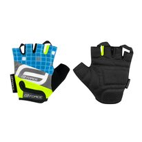 Gloves FORCE Square Kid (fluorescent/blue) M