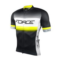 Marškinėliai FORCE Drive (juoda/balta/fluorescentinė)