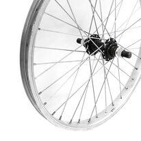 """Priekinis ratas 20"""" viengubas sidabrinis ratlankis, juoda stebulė, V-brake 36H, ašis 14mm"""