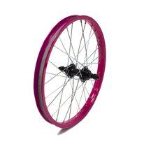 """Galinis ratas 18"""" rožinis ratlankis, juoda stebulė, 28H"""
