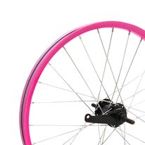 """Galinis ratas 18"""" rožinis ratlankis, juoda stebulė, 36H V-brake + kojinis"""