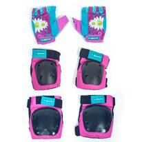 Apsaugų komplektas KidZamo Daisy kelių, alkūnių ir pirštinės 8-15 metų vaikams (rožinė)