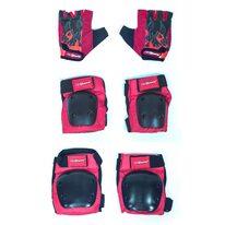 Apsaugų komplektas KidZamo Flame kelių, alkūnių ir pirštinės 8-15 metų vaikams (juoda/raudona)