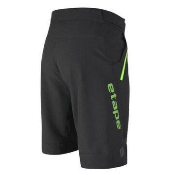 Šortai ETAPE Freeride su įsegamu paminkštinimu (juoda/žalia) XL